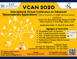 Image of (531741) EURAXESS India at the International Virtual Conference on Advanced Nanomaterials and Applications (VCAN 2020)